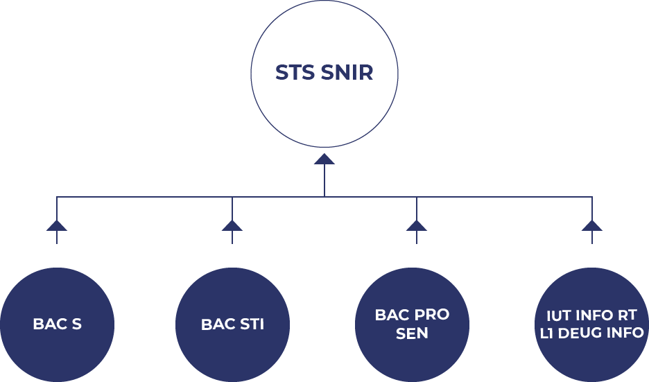 Visuel hierarchique pour accéder à la formation BTS SNIR